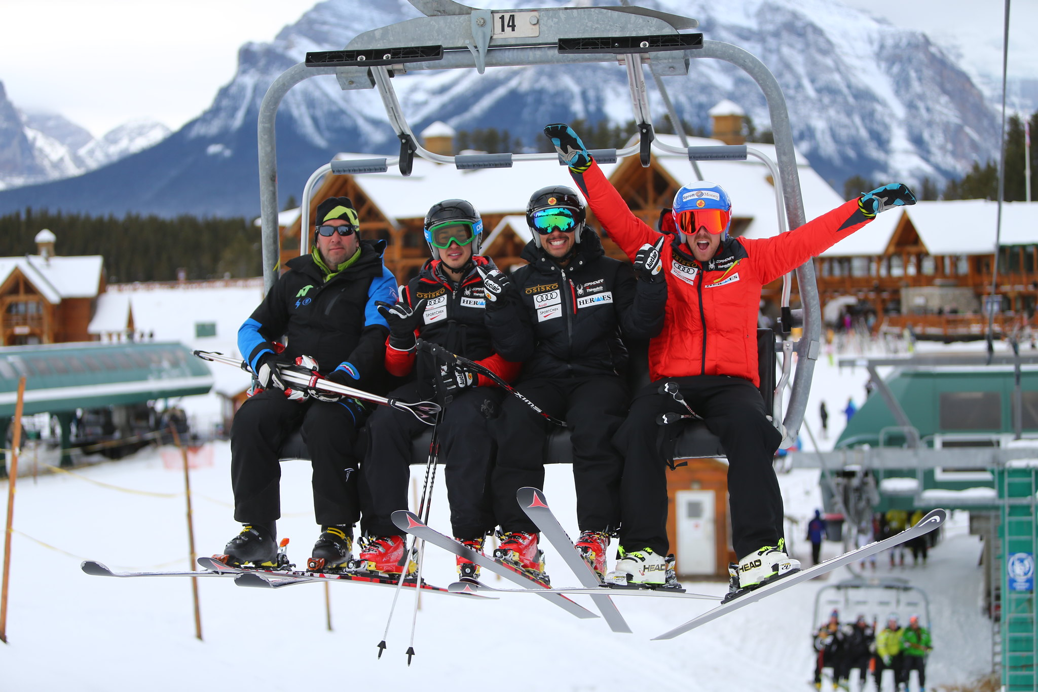 Conrad, Morgan and Dustin have some fun on the chairlift during a free ski day in Lake Louise, CAN