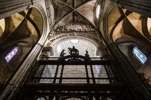 The epic vaulted ceilings at Seville Cathedral.