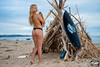 Nikon D800E Photos of Pretty Blond Swimsuit Bikini Model Goddess & Black Surfboard: 70-200 mm VR2 Nikkor F/2.8 Zoom by 45SURF Hero's Journey Mythology Goddesses