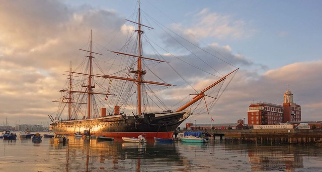 HMS Warrior at Sunset