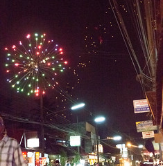 fireworks and lanterns, Chiang Khong