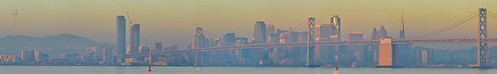 sanfrancisco california city morning bridge winter panorama orange color skyline port sunrise oakland bay nikon december large panoramic baybridge bayarea eastbay d200 80 stitched alamedacounty portofoakland 2013