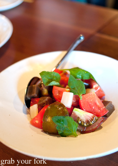 Dotorimuk heirloom tomato salad at Moon Park, Redfern