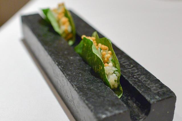 taco hokkaido sea scallop, sushi rice, nasturtium