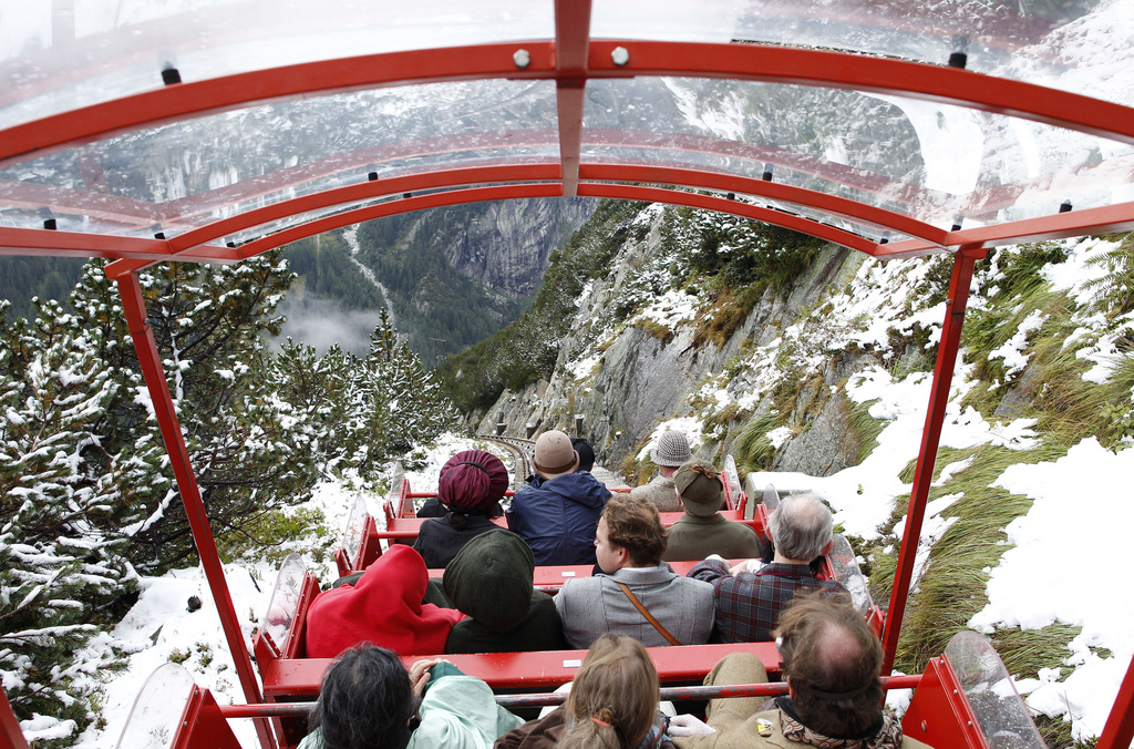 Descending by the Gelmer Funicular