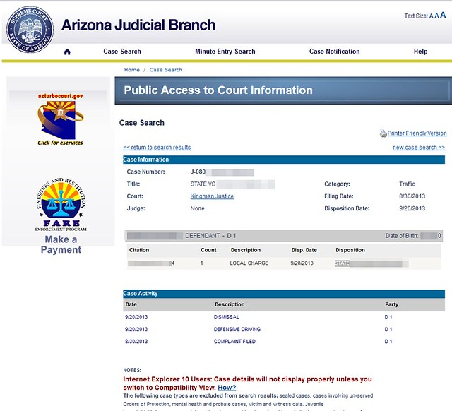 Arizona Speeding Dismissal