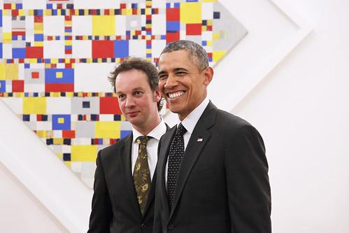 president Obama visits Gemeentemuseum Den Haag