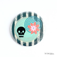 Skull Flower Pinback Button