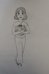 Girl with Fruits and Veggies Drawing