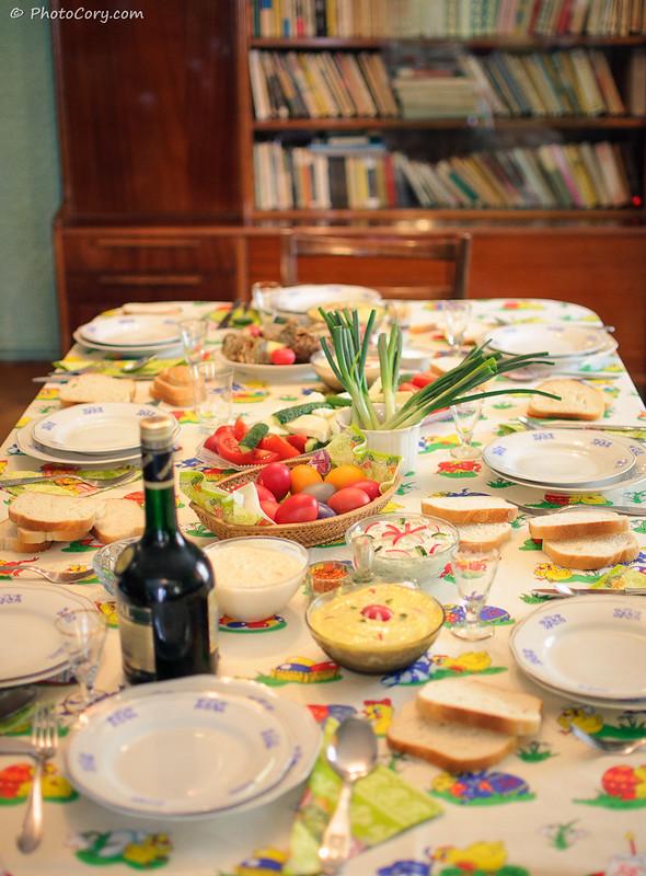 Masa de Paste. Easter Table setup in Romania