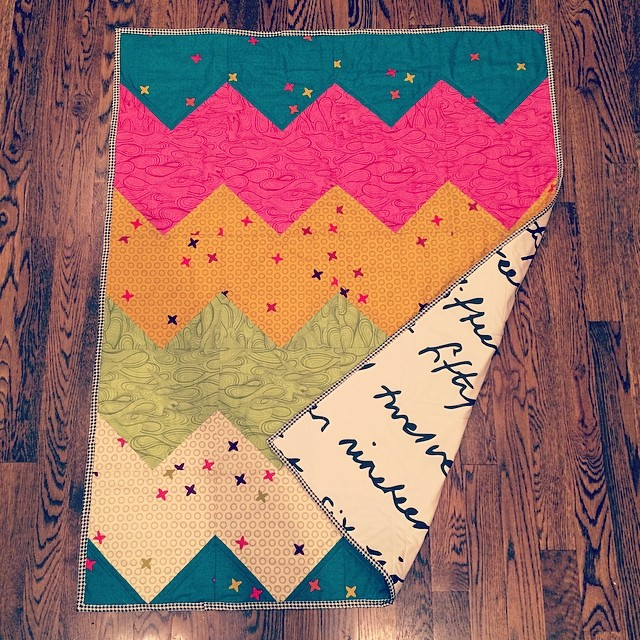 Finished this easy chevron quilt with my favorite IKEA fabric backing! I may post a quick how-to on my blog next week.