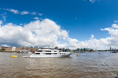 Luxury yacht Emilina moored on the Thames London