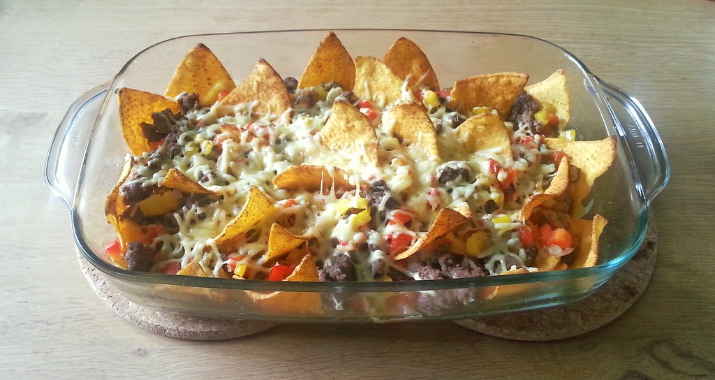nacho schotel met gehakt en kaas
