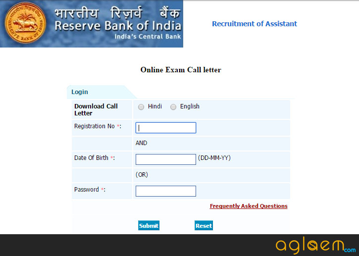 rbi assistant exam 2014-15 admit card