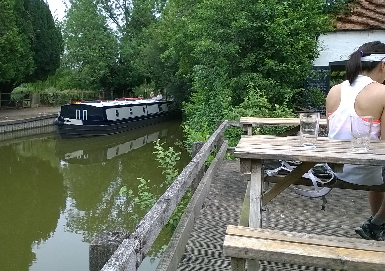 Narrow boat, pub, Kintbury lock Canal life by Dundas Arms