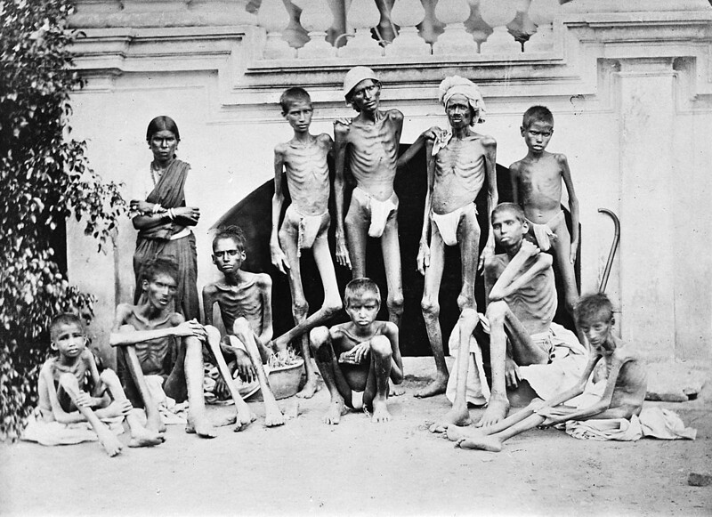 Famine stricken people during the famine of 1876-78 in Bangalore, by Willoughby Wallace Hooper