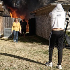 still can't get over how casually these folks strolled away from their backyard which was ON FIRE. #twit #bedfordtx #fire #twit