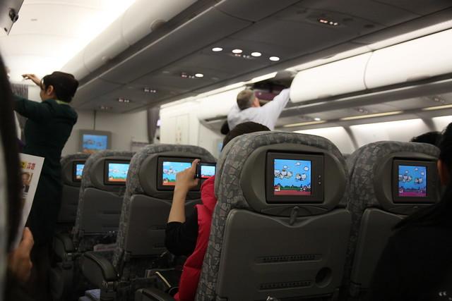 長榮hello kitty機 上飛機