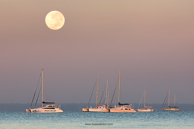 The supermoon sets