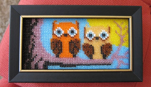 owl - beaded needlepoint