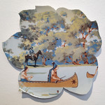 Lesley Baker - Camp Ground; recycled plate cut to shape, digital decal, fired to 019, 2013