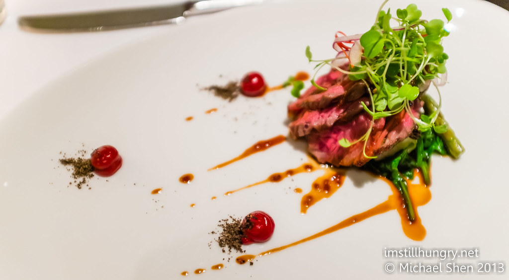 Eight score sher wagyu beef, white polenta, morels, red wine jam, foie gras, sticky shallot jus and mache salad Ezard