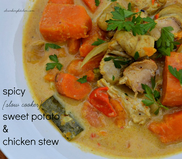 Spicy {Slow Cooker} Sweet Potato and Chicken Stew - Shrinking Kitchen