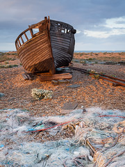 Fishing boat at sunset, Dungeness