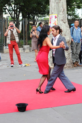 Tango dancers on the street at Montmartre, Paris