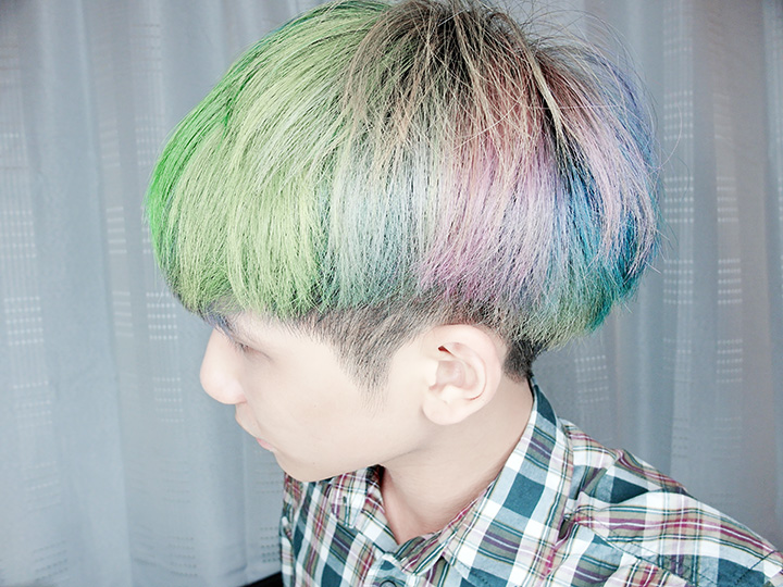 rainbow hair side