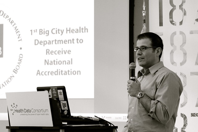 Raed Mansour Talking About a Day in the Life at the Chicago Department of Public Health at the Illinois Health Datapalooza at 1871 Chicago