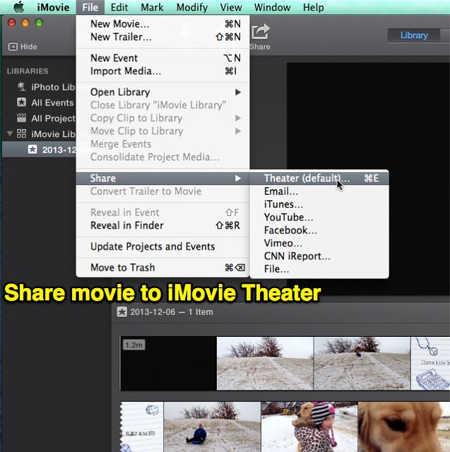 Share movie to iMovie Theater