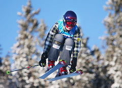 Kelsey Serwa gets some air during qualification at the 2013 FIS Ski Cross World Cup in Nakiska, CAN