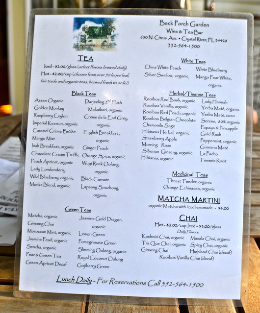 tea menu at teahouse