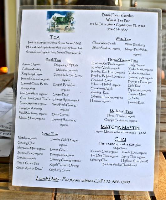 tea menu at teahouse