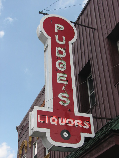 Sign for Pudge's Liquors, Hudson, WI