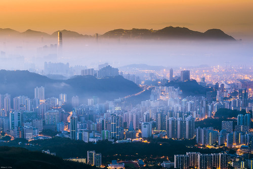sunrise dawn cityscape kowloon 九龍 westkowloon 日出 taimoshan 大帽山 西九龍