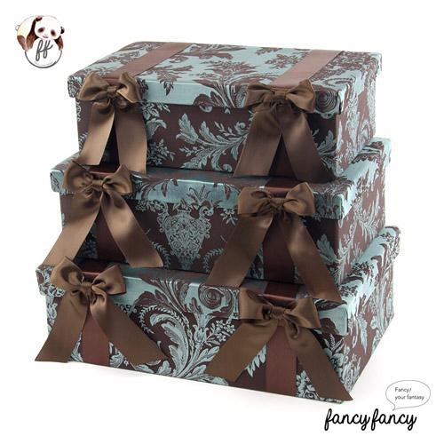 87.優雅宮廷風緞帶蝴蝶結收納盒(美國設計 大中小三個一組)-棕綠色
