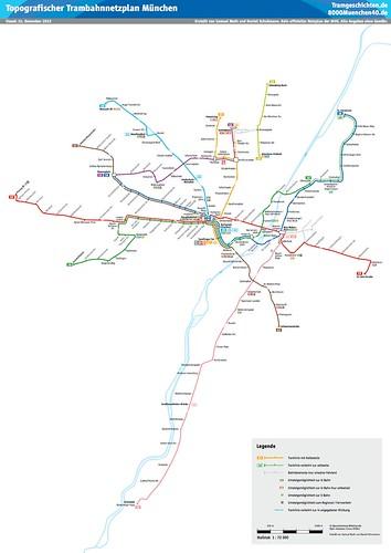 Topografischer Netzplan der Münchner Straßenbahn
