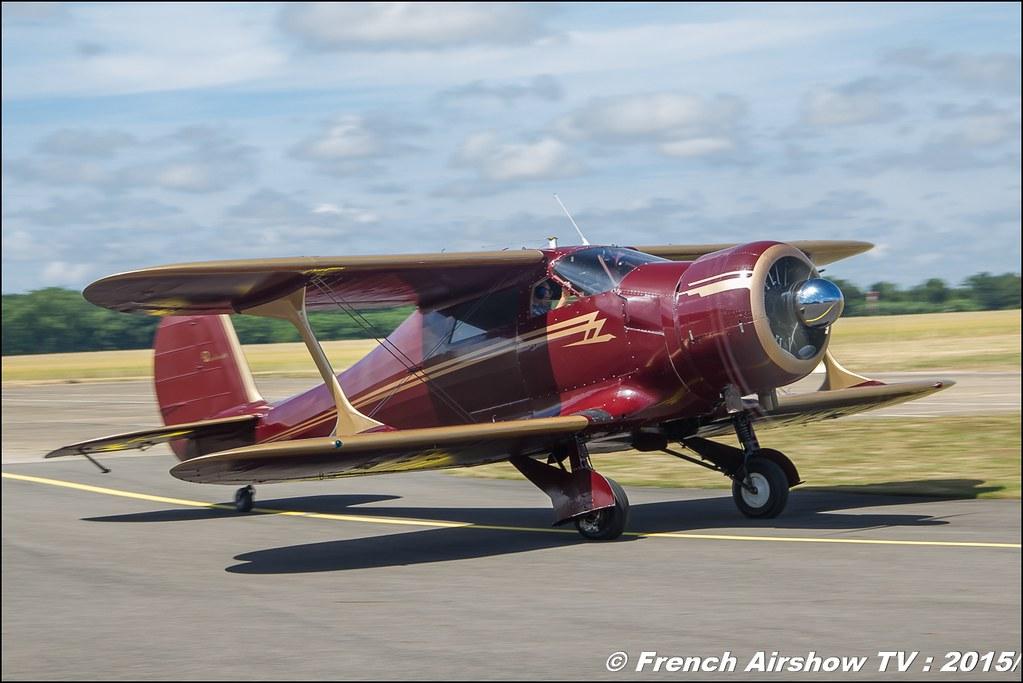 Beechcraft D 17 S Staggerwing, F-AZLA, F-GUZZ, Fly in LFBK 2015 - Fly in Saint Yan 2015,