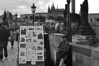 Selling cartoons in Prague