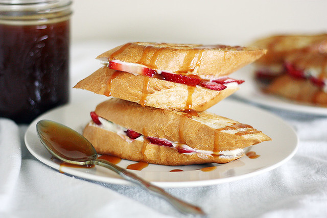 strawberry-cream cheese grilled cheese + salted caramel sauce