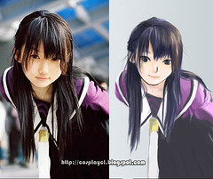 anime, hime cut, black hair, hairstyle, clothing, manga, cartoon,