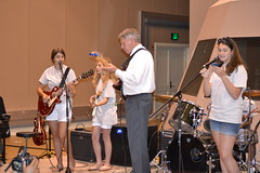 Delta Music Institute camp attendees jams with President LaForge.