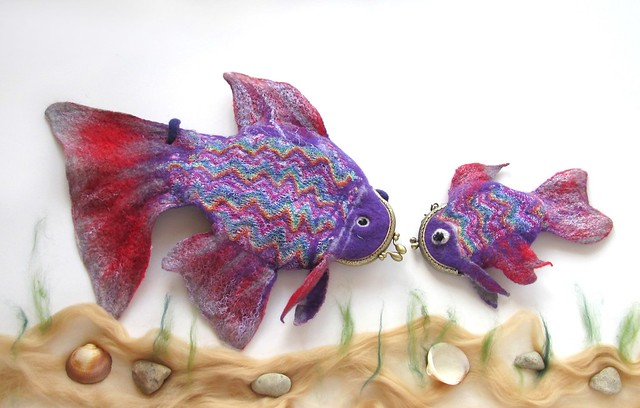 Felted purses - purple fish