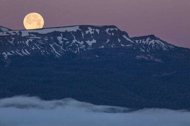 Supermoon setting in Centennial Mountains WSA