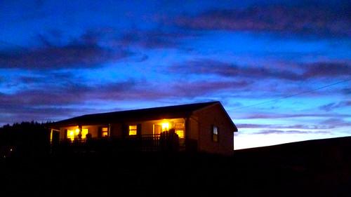 sunset canada lights cabin novascotia ns cottage cyan indigo veranda porch capebreton cabottrail atlanticcanada capebretonisland
