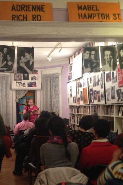 Bevin reading at the Lesbian herstory archives