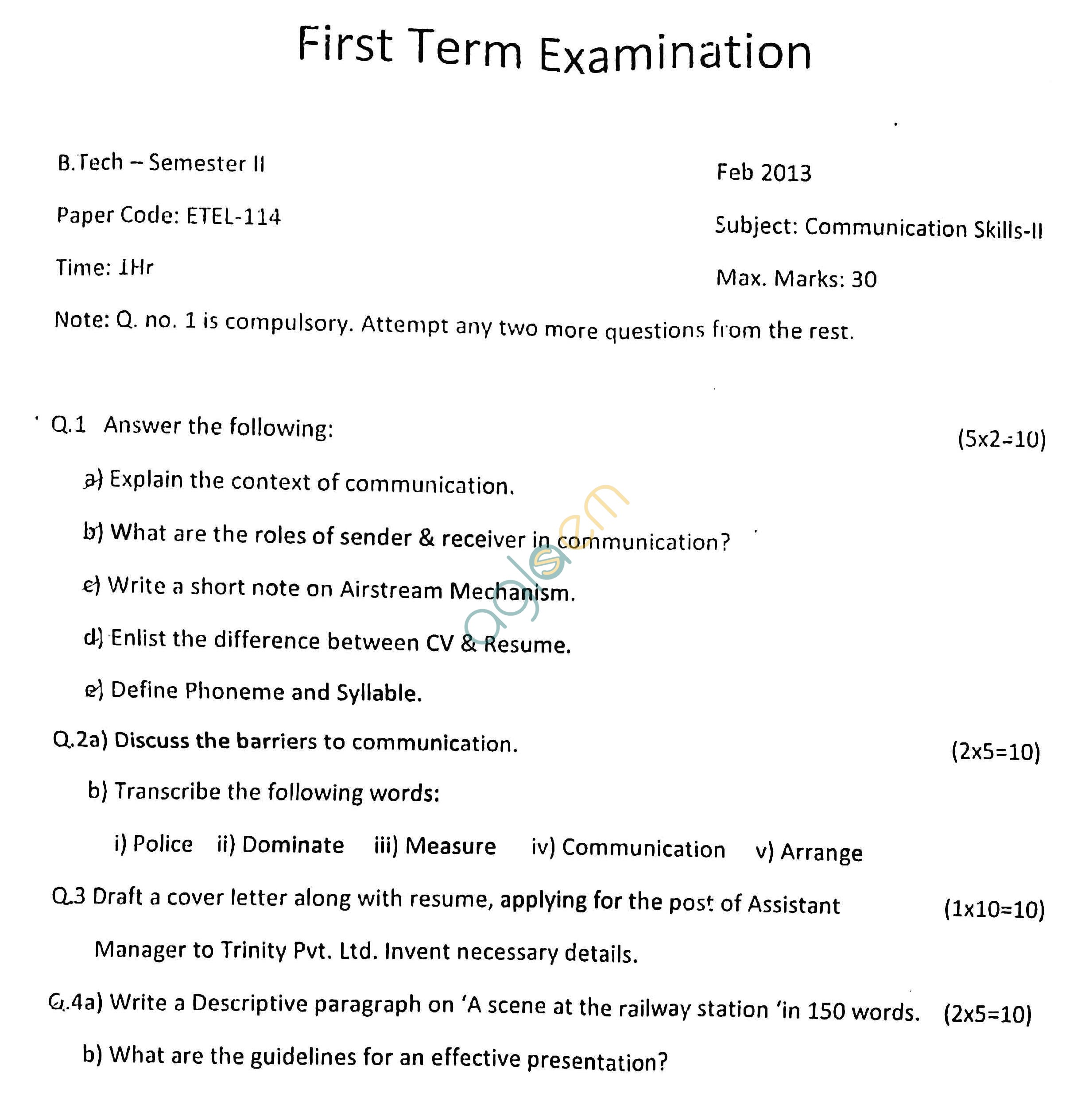 GGSIPU: Question Papers Second Semester – First Term 2013 – ETEL-114