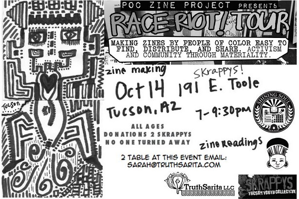 October 14, 2013 flier for our community #raceriottour event in Tucson, AZ